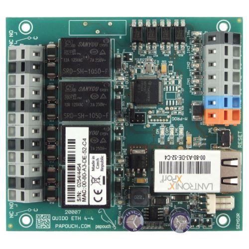 Quido ETH 4/4: 4x digitální vstup, 4x relé, 1x vstup pro teplotní senzor, rozhraní Ethernet.