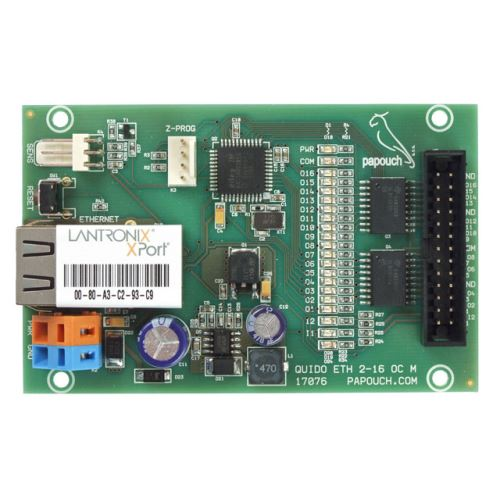 Quido ETH 2/16: 2x digitální vstup, 16x konektory s OC výstupy (rozteč 2,54mm), 1x vstup pro teplotní senzor, rozhraní Ethernet