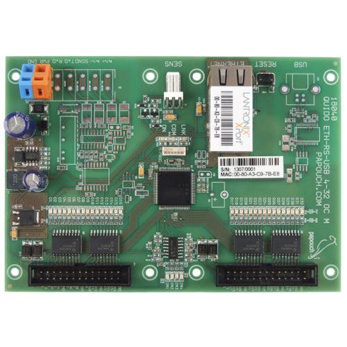 Quido ETH 4/32: 4x digitální vstup, 32x konektory s OC výstupy (rozteč 2,54mm), 1x vstup pro teplotní senzor, rozhraní Ethernet