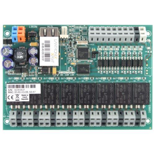 Quido ETH 8/8: 8x digitální vstup, 8x relé, 1x vstup pro teplotní senzor, rozhraní Ethernet