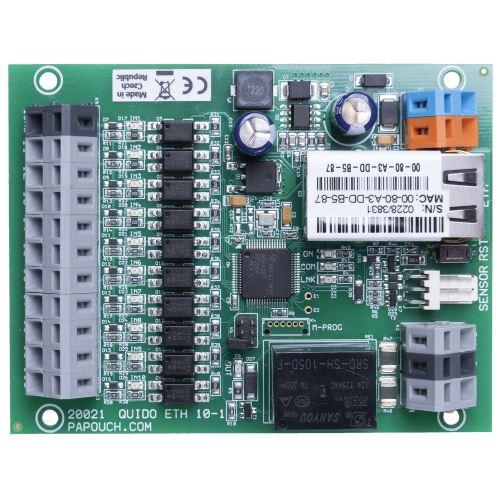 Quido ETH 10/1: 10x digitální vstup, 1x relé, 1x vstup pro teplotní senzor, rozhraní Ethernet